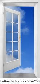 Open door to sky - conceptual image - business metaphor