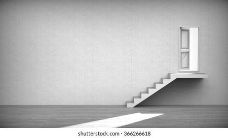 Open door stairs and light coming into interior/bright light through an open door in empty dark room