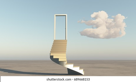 open door with stairs,clouds on the wide plains.