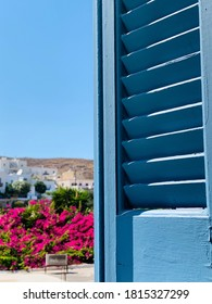 Open door to the terrace. Overlooking the flower garden