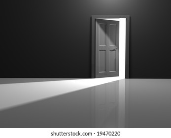 Open door to the white beyond