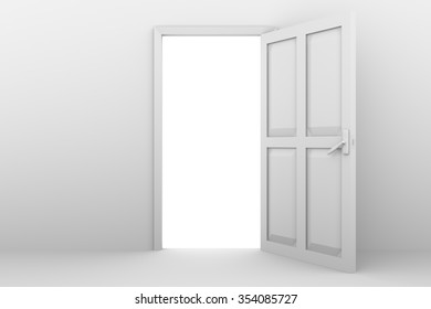 open door in white on a white wall
