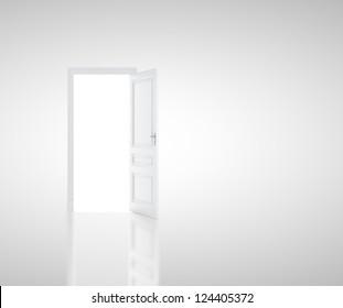 open door in white room