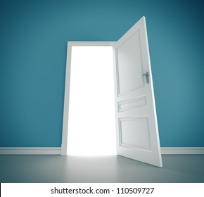 open doors in blue room