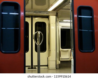 Open doors of an empty subway car