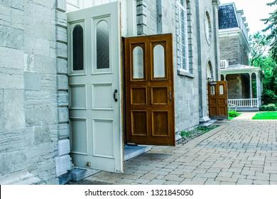 Open doors on side of church