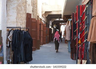 The open doors of shops and stalls in Souq Waqif, the central market in Doha Qatar