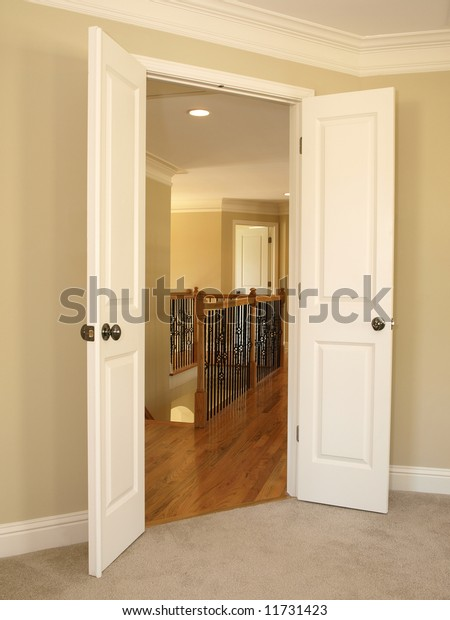 Open Double Door Stairwell Hard Wood Stock Photo Edit Now 11731423