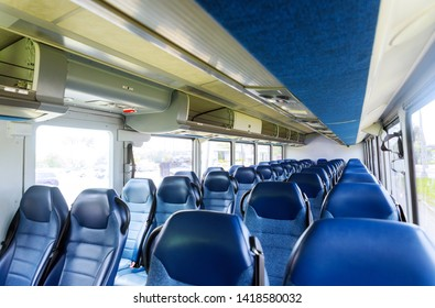 Open double interior of new modern chairs bus