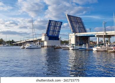 Open drawbridge in Fort Lauderdale Bridge , Florida, USA