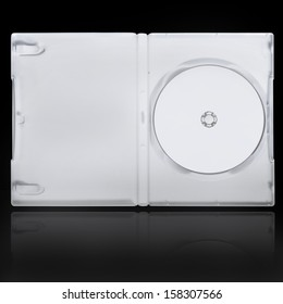 The open DVD case with disk inside isolated