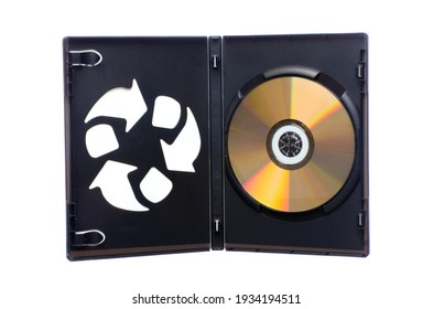 Open DVD case with a recycle symbol on one side and white background.