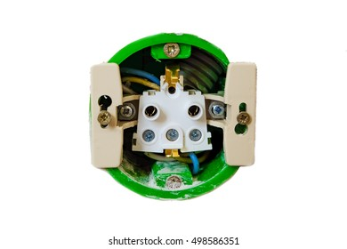 Open electric socket without front panel. Work on installing the wall outlet.