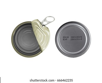 open empty aluminum can (canned food) and manufacture date and expiry date printed on the bottom of cans isolated on white background, information of product for consumer, top view