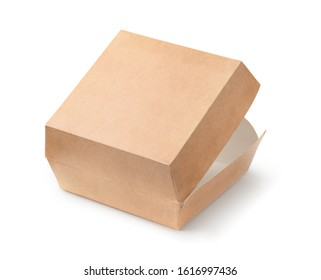 Open empty blank burger box isolated on white
