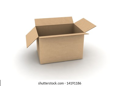 open empty cardboard #3 - photorealistic 3d render illustration