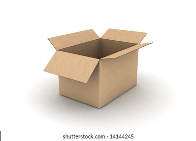 open empty cardboard #4 - photorealistic 3d render illustration