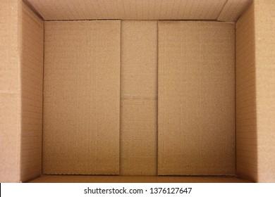 Open empty cardboard box. Close up.