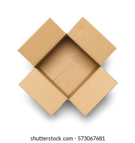 Open Empty Cardboard Box Isolated on White Background.