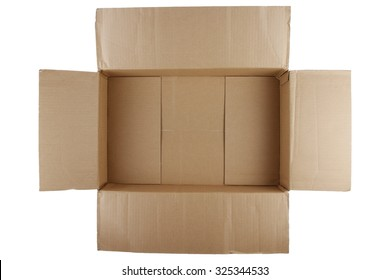 Open empty cardboard box on white background