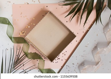 open empty gift box on MINIMAL BACKGROUND. Colorful Gift box with ribbon bow present on holiday