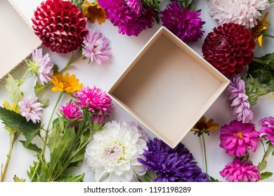open empty gift box on white table. Colorful Gift box with ribbon bow present on holiday flowers asters