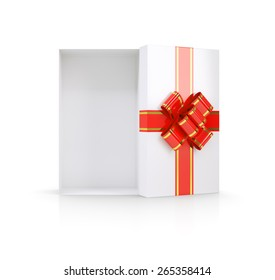 Open empty gift box with red bow and ribbon. Isolated on white background