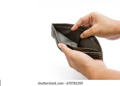 Open empty leather wallet , no money in pocket, empty
