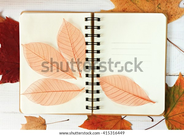 Open empty note book decorated with dry autumn leaves scattered.