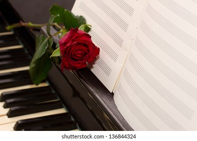 open empty notes paper with red rose   on vintage piano