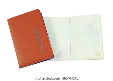 Open empty passport page and orange passport cover isolated on white background