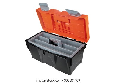 Open empty plastic toolbox black and orange color, isolated on white background.