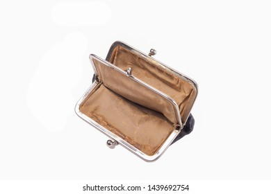 Open and empty purse isolated