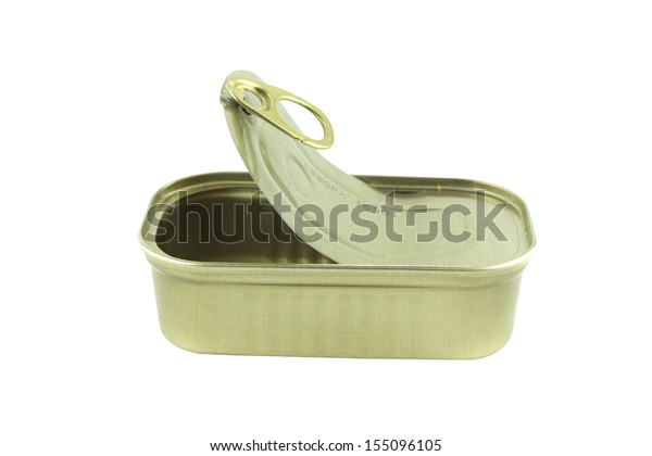 open empty sardine can on white background.  (with clipping work path)