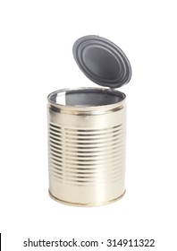 Open an empty tin can isolated on white background