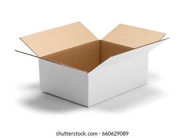 Open Empty White Box Isolated on White Background.