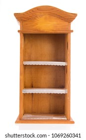 Open empty wooden cabinet isolated over white background