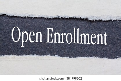 Open Enrollment words under torn black paper.