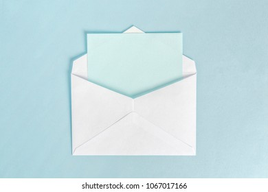 open envelope with cyan paper