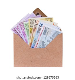 Open envelope with euro banknotes on a white background