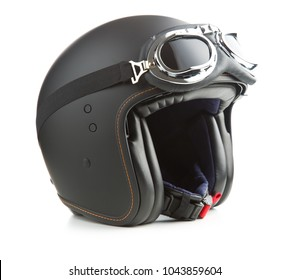 Open face motorcycle helmet with goggles isolated on white background.