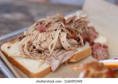 Open faced Pulled Pork Sandwich