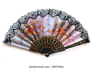 open fan with flowers, isolated on white background
