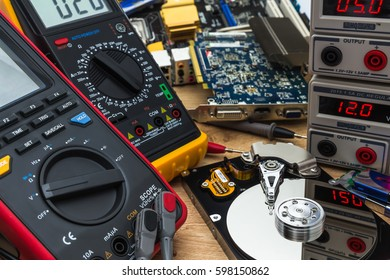 open faulty HDD in a service laboratory ready for data recovery or repair