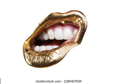 Open female mouth with unusual creative lipstick. Cosmetics and beauty concept. Gold mouth, lips with golden glossy glamorous lipstick, fashionable make-up for young girl isolated on white background.