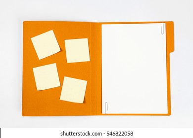 Open file folder with bunch of sticky notes