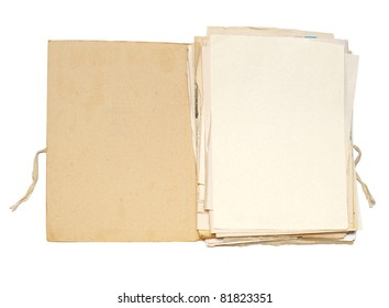 Open file with sheets of paper