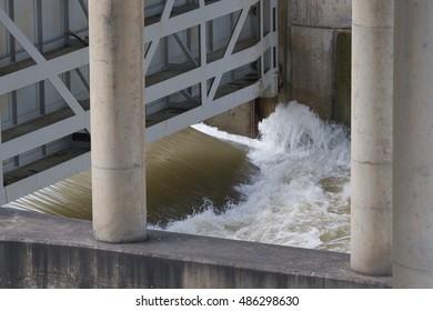 open flood gate on Longhorn Dam the east end of Lady Bird Lake
