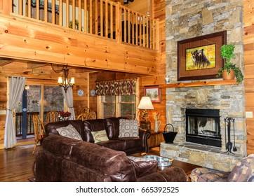Open floor plan of cabin in Maggie Valley, North Carolina