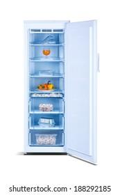 Open freezer with food, outdoor freezer